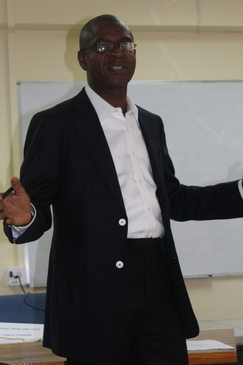 Mr Bola Akindele delivering his message to  an attentive audience