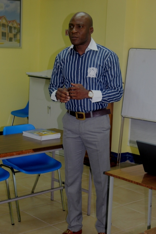 Femi Niyi delivering his presentation to insurance professionals