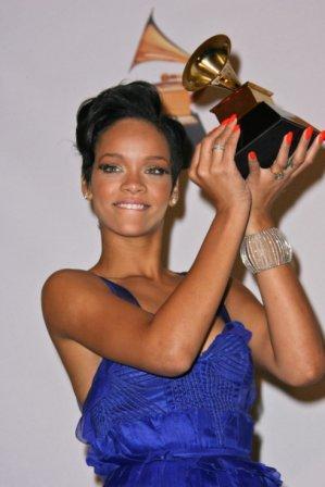 Rihanna receiving Grammy