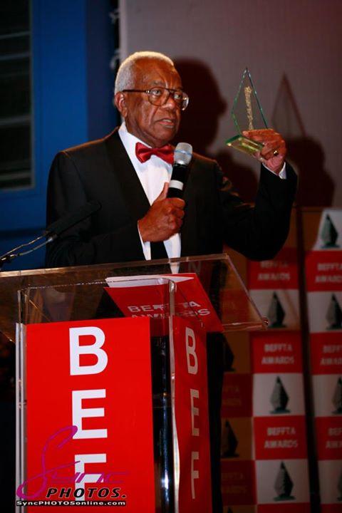 Sir Trevor Mc Donald receives award at BEFFTA 2012. Photo courtesy Sync Photos