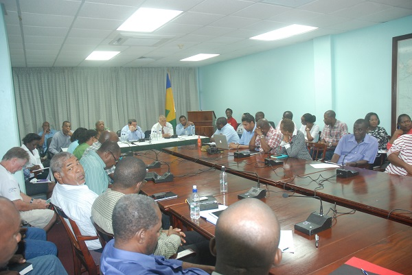 SVG PM disaster briefing. Photo courtesy Robertson Henry