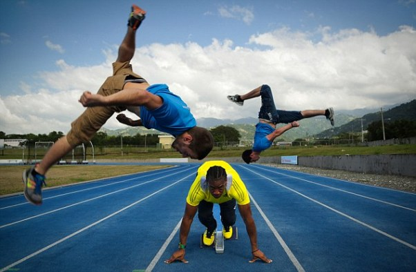 Yohan Blake races Britain's best. Photo courtesy www.dailymail.co.uk