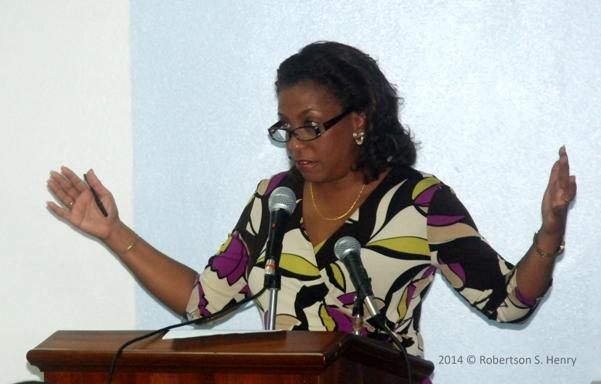 Mrs Jacqueline Sealy-Burke addressing participants on Monday morning. Photo courtesy Robertson Henry