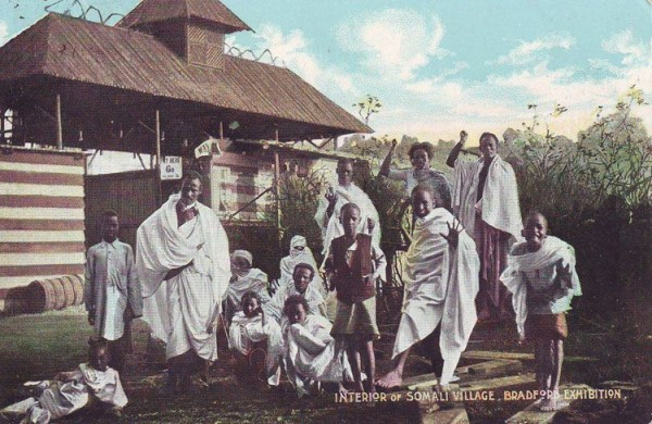 Postcard depicting the Somali Village at the Great Bradford Exhibition, UK in 1904