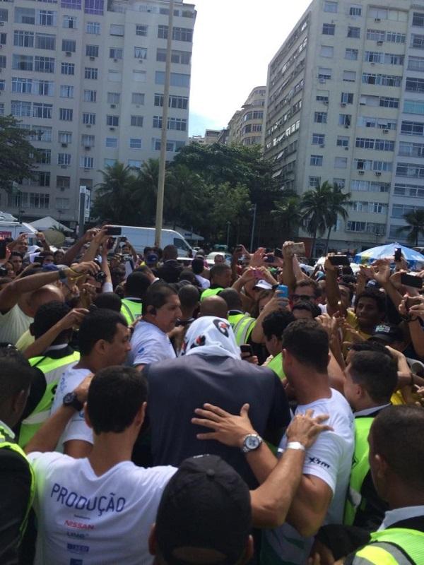 Usain avoiding the crowds in Brazil. Photo courtesy http://universalsports.com