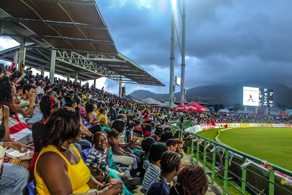 Cricket fans watching the second semifinal matchup. Photo courtesy SKNIS