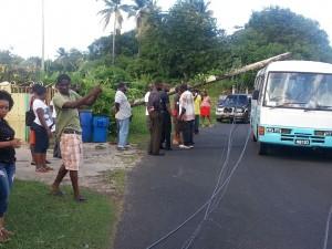 Utility pole lands on a coaster bus near Wesley