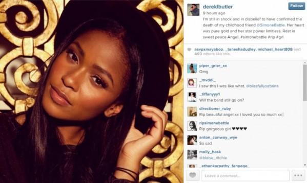 Battle's friend Derek Butler broke the news of her death on Instagram on Saturday.(Instagram)