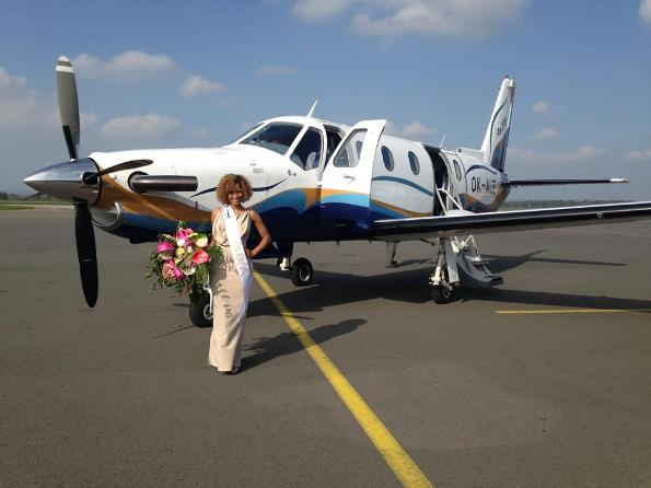 Princess of the World 2014, Andella Chileshe Matthews boarding a private jet to fly out to Prague from Ostrava, Czech Republic.