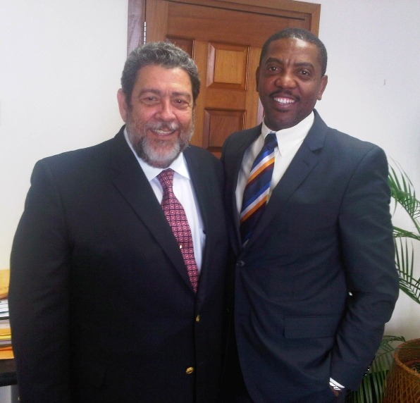 Prime Minister Ralph Gonsalves and WICB Whycliffe Cameron Photo courtesy spiceislander.com