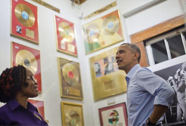 Obama at Marley Museum. Photo courtesy www.gazettenet.com
