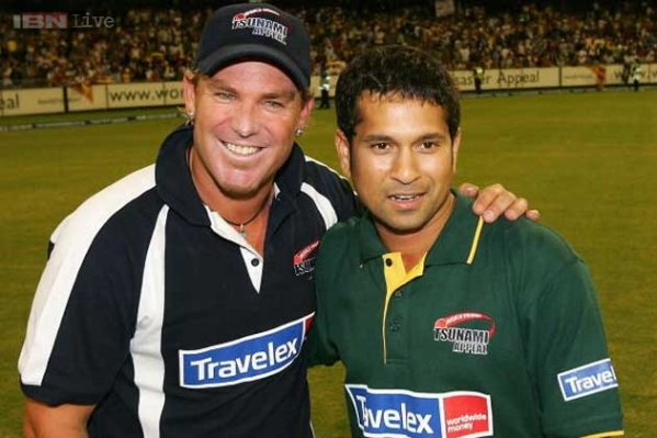 Warne and Tendulkar. Photo courtesy ibnlive.in.com