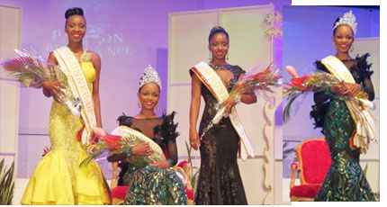 Caption: L-R: 1st Runner-up Vickeish Charles, Miss Lotto; Miss SVG 2015, De Yonté Mayers, Miss Mustique Co. Ltd.; and 2nd Runner-up, Anika Robinson, Miss LIME.. Photo courtesy http://thevincentian.com/