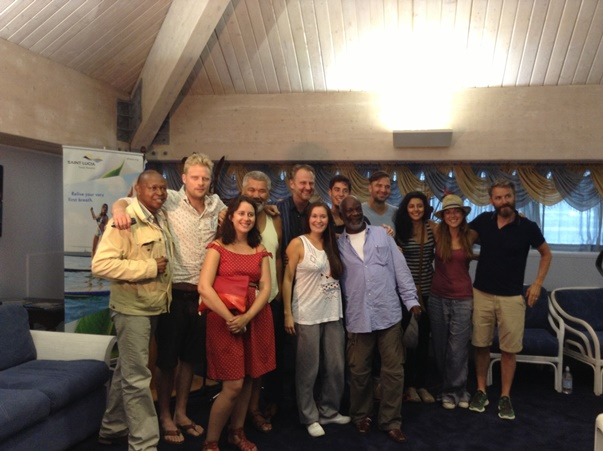 The Cast and management of King Lear: Hewanorra airport. Saint Lucia August 2013.