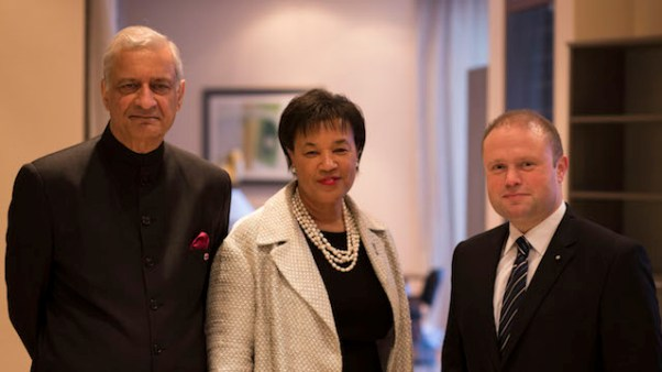 Newly elected Commonwealth Secretary General, Baroness Patricia Scotland (centre) is flanked by outgoing Secretary General Kamalesh Sharma (left), and Maltese Prime Minister Joseph Muscat. (Photo courtesy Commonwealth Secretariat)