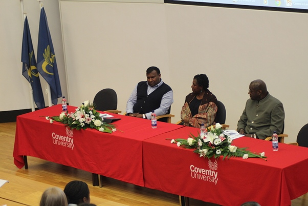 Panel 1. (L-R) Mr. Ian Rajaratnam - Paralegal, Leigh Day , Ms Suzanne Reece - solicitor, Mr. Colin Bobb-Semple - former senior lecturer at Inns of Court. Ms. Nageena Khalique Q.C. No 5 Chambers is speaking. Photo courtesy CaribDirect