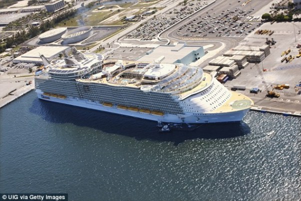 The incident happened on the Oasis of the Seas cruise ship, which is owned by Royal Caribbean (seen in port)