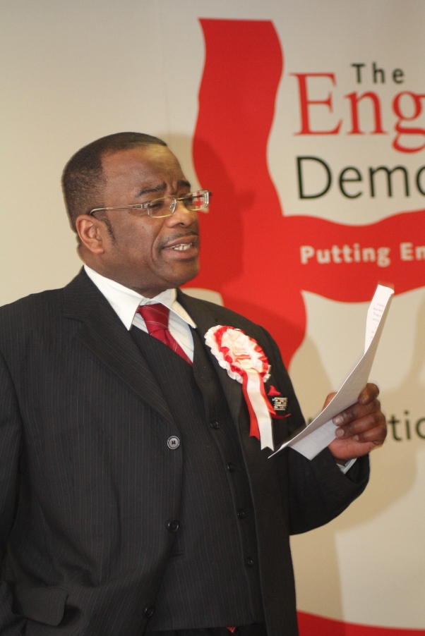 Winston McKenzie highlighting his 4 points under his speech's SAFE theme. Photo courtesy CaribDirect