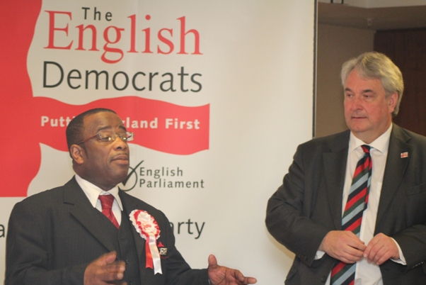Winston McKenzie following the acceptance of his English Democrats London Mayoral endorsement from Robin Tilbrook. Photo courtesy CaribDirect