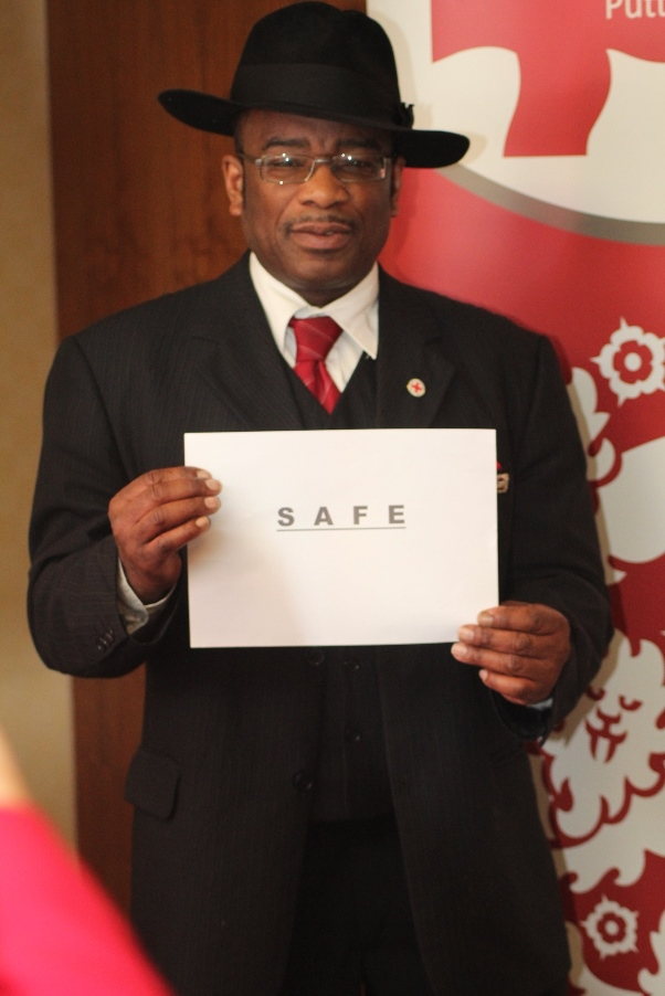 Winston McKenzie demonstrating his commitment to keeping Londoners SAFE. Photo courtesy CaribDirect