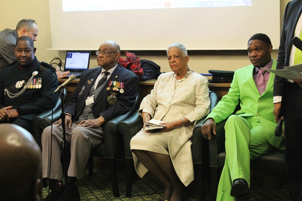 (L-r) Major Larry Davis, Allan Wilmott, Baroness Howells and Nubian Jak. Photo courtesy CaribDirect