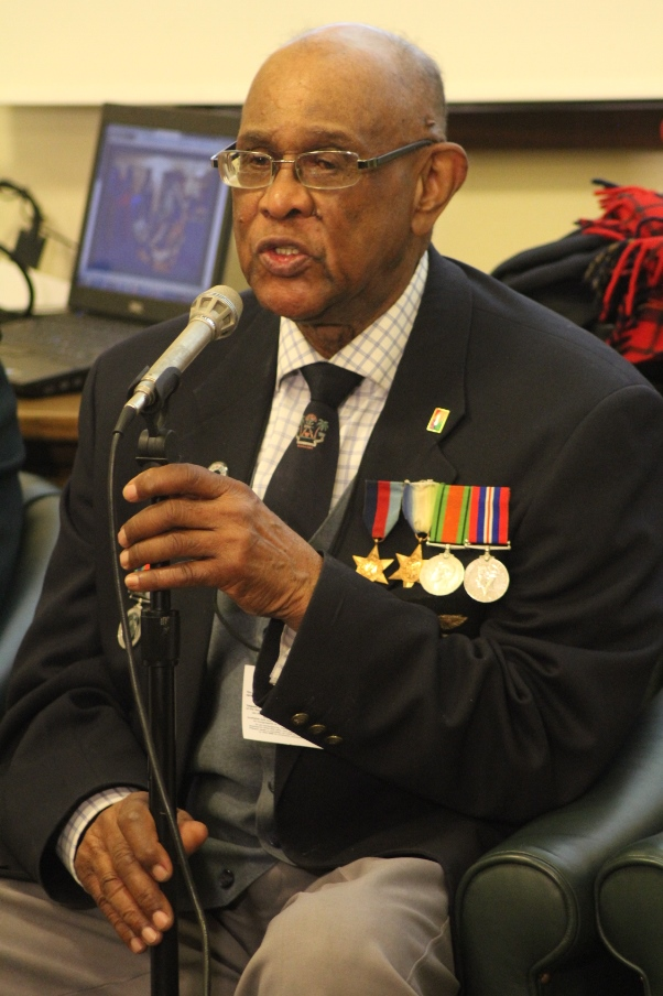 Veteran Alan Wilmott speaks of the difficulties experienced as a Black soldier in WWII. Photo courtesy CaribDirect