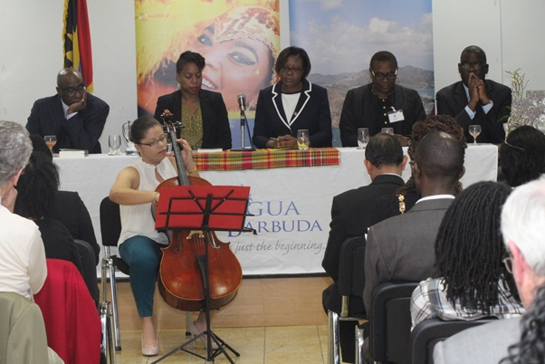 Launee Richards plays the cello for the gathering. Photo courtesy CaribDirect