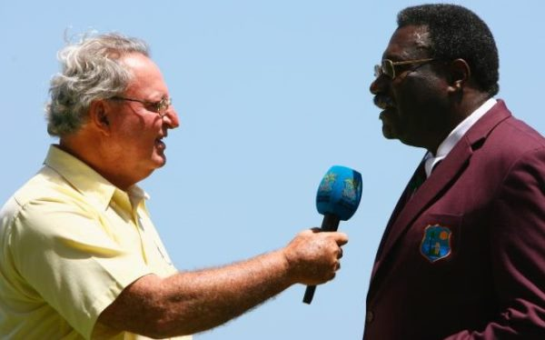 Tony Cozier (left) interviewing cricket legend Sir Clive Lloyd. Photo courtesy http://www.telegraph.co.uk
