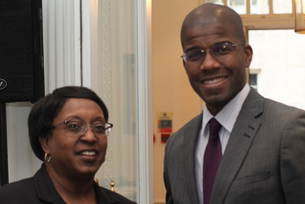 Deputy Director Government of The British Virgin Islands – London Office, Dr Sandra Besson and Director Benito Wheatley pause for a pose. Photo courtesy CaribDirect