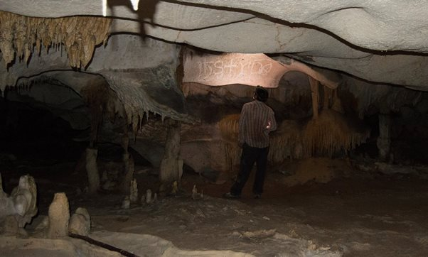 A researcher looks at drawings in a cave on Mona island. Photograph: British Museum