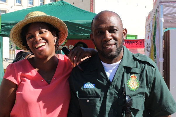 Primrose Granville, BBC radio broadcast journalist with one of the few Black EMTs with NHS. Photo courtesy CaribDirect