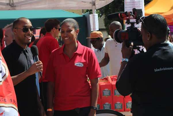 Grace Foods UK marketing manager, Nyree Chambers being intereviewed by Black Visions TV. Photo courtesy CaribDirect