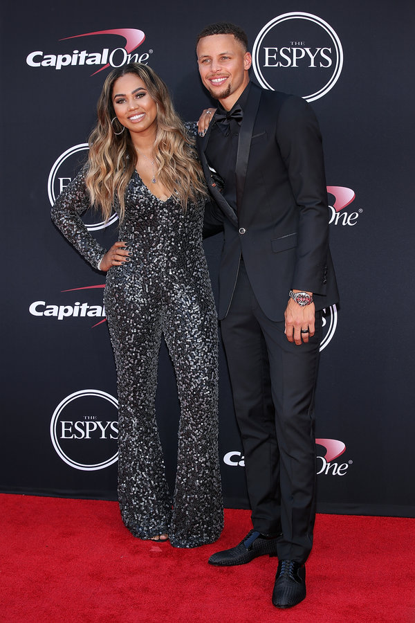 LOS ANGELES, CA - JULY 12:  (L-R) Ayesha Curry and Stephen Curry attend The 2017 ESPYS at Microsoft Theater on July 12, 2017 in Los Angeles, California.  (Photo by Phillip Faraone/Patrick McMullan via Getty Images)