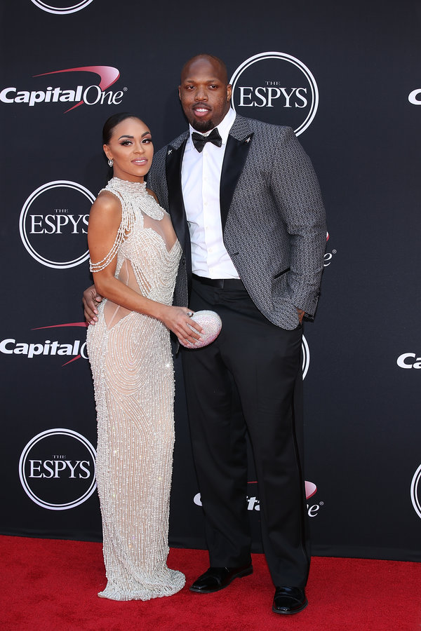 LOS ANGELES, CA - JULY 12:  Terrell Suggs (R) attends The 2017 ESPYS at Microsoft Theater on July 12, 2017 in Los Angeles, California.  (Photo by Phillip Faraone/Patrick McMullan via Getty Images)