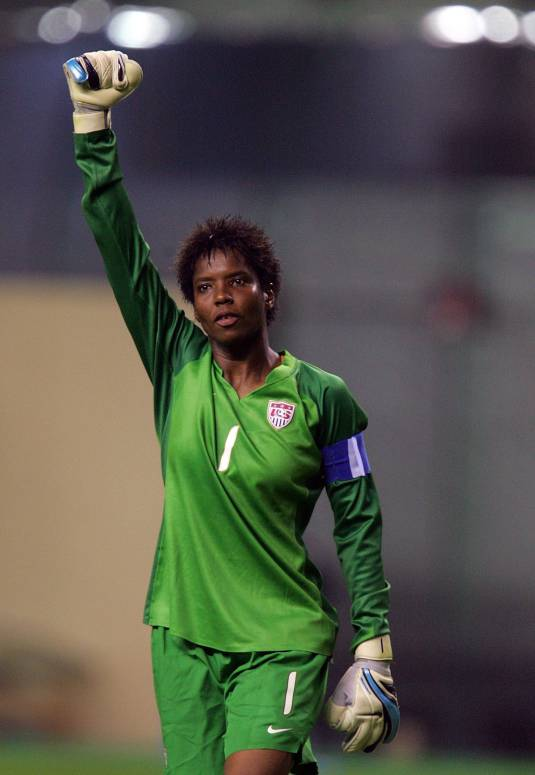 SHANGHAI, CHINA - SEPTEMBER 30: USA Goalkeeper Briana Scurry acknowledges the crowd after her team's 4-1 win of the FIFA Women's World Cup 2007 third place playoff match against Norway at Hongkou Stadium on September 30, 2007 in Shanghai, China. (Photo by Ronald Martinez/Getty Images)