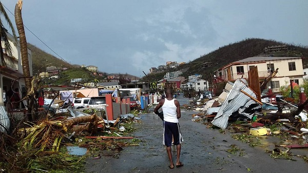 Scene of destruction on Tortola caused by hurricane Irma. (Photo Credit: Ve-Anna Thomas) and http://bvinews.com