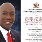 Prime Minister Dr Keith Rowley to meet Trini's in London